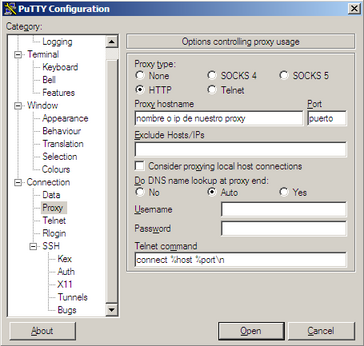 Configuración del proxy en Putty
